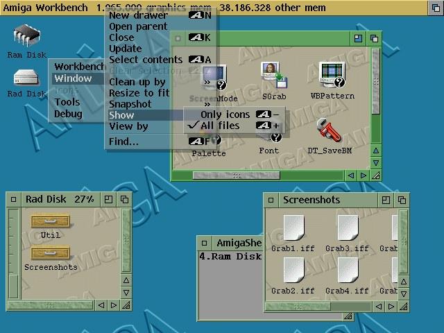 L'une des premières captures d'écran d'AmigaOS 4