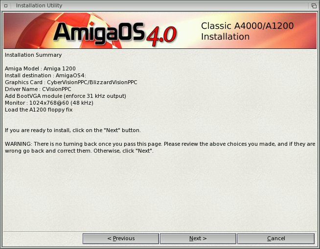 Installation AmigaOS 4 Classic