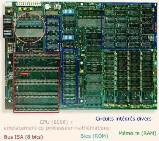 Carte mère de l'IBM PC/XT 5150 du musée de l'Histoire de l'Informatique