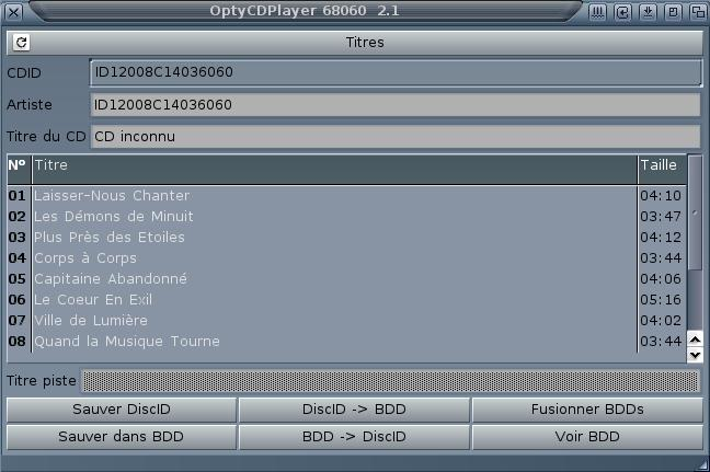 OptyCDPlayer Titres